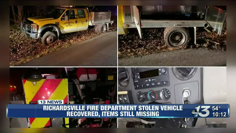 Richardsville fire department stolen vehicle recovered, items still missing