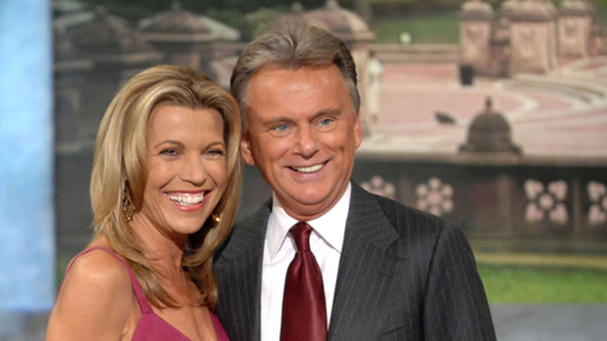 """Co-host Vanna White and host Pat Sajak make an appearance at Radio City Music Hall for a taping of celebrity week on """"Wheel of Fortune,"""" hosted by People Magazine. (AP Photo/Peter Kramer)"""