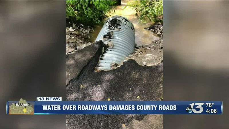 Water over roadways damages county roads
