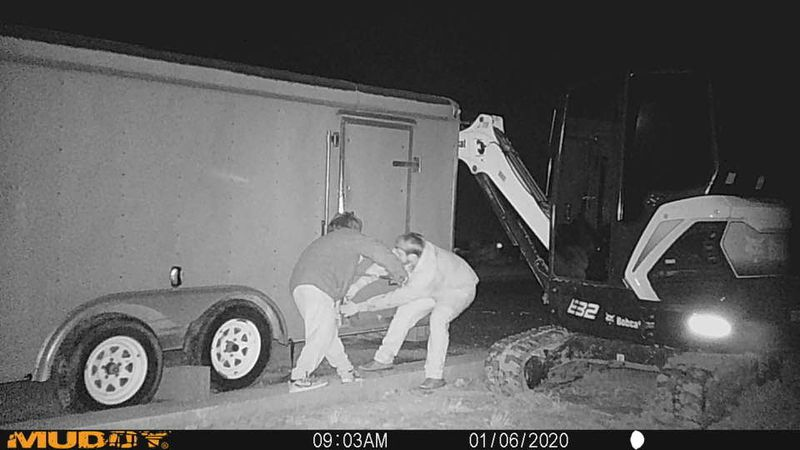 Authorities are searching for two suspects involved in a trailer break in.