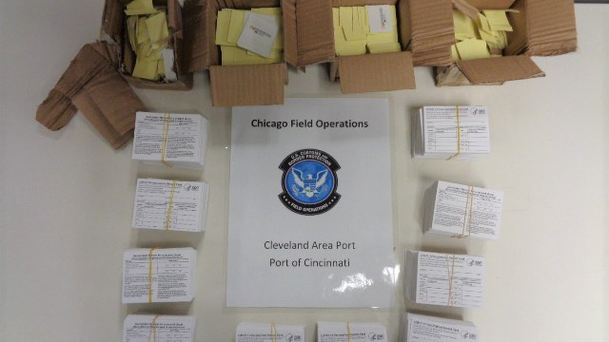 The fake COVID-19 vaccination cards were seized in five different shipments.