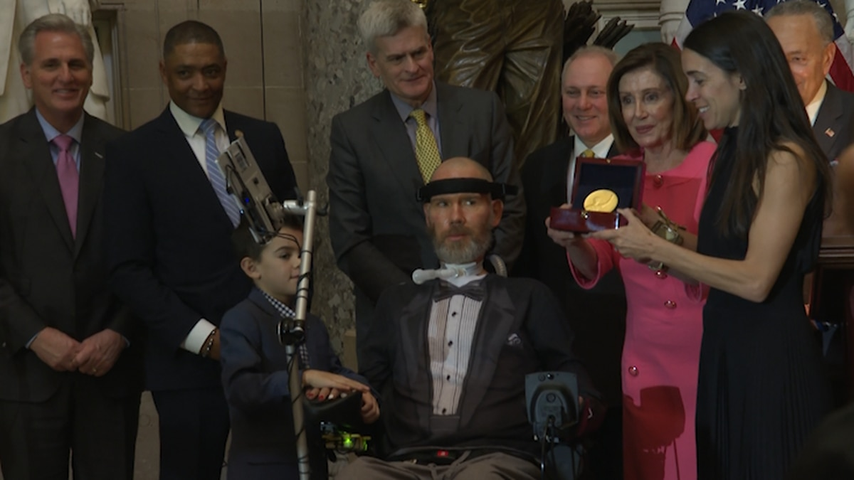 Steve Gleason receives the Congressional Gold Medal, the highest civilian honor given by Congress. (Source: Gray DC)