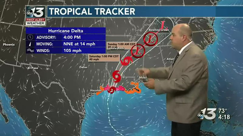 Tropical rains from Delta to move through