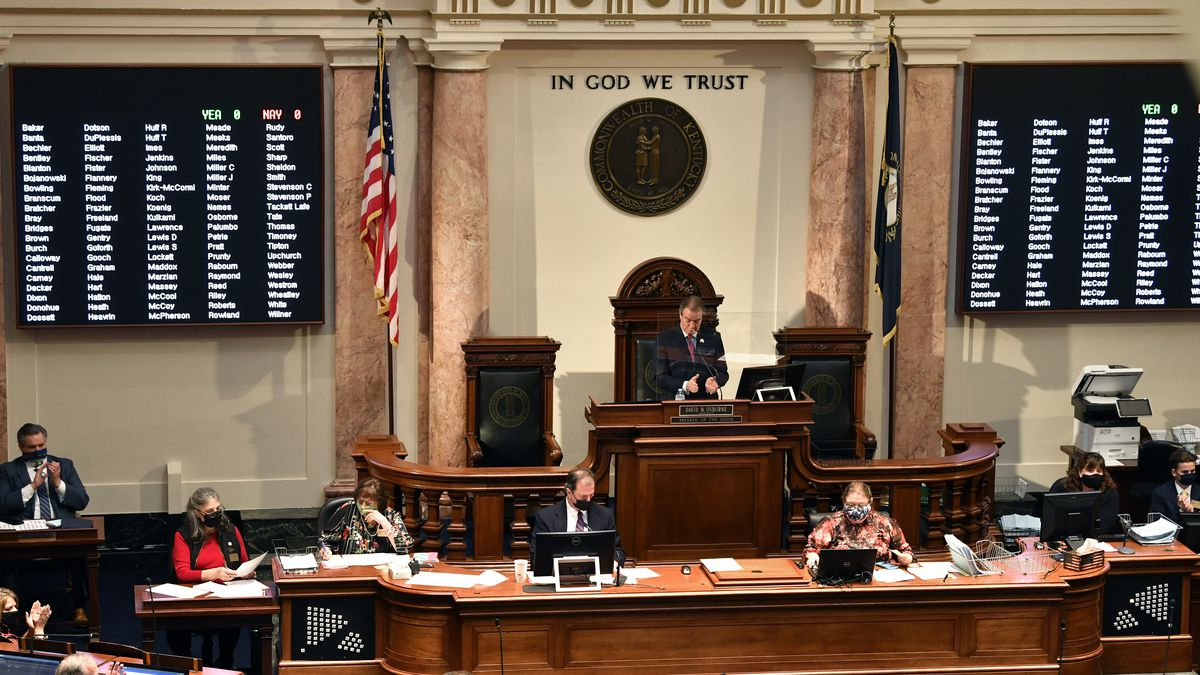 Kentucky Speaker of The House David Osborne addresses the members of the House during the...