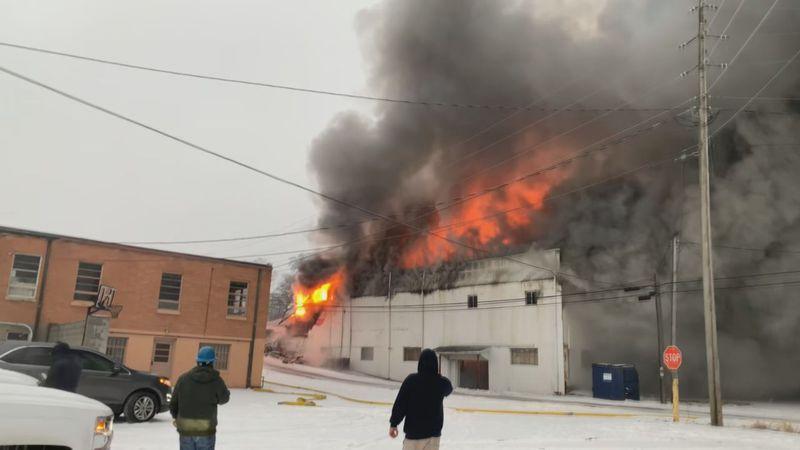 Hughes HVAC on fire in Glasgow.