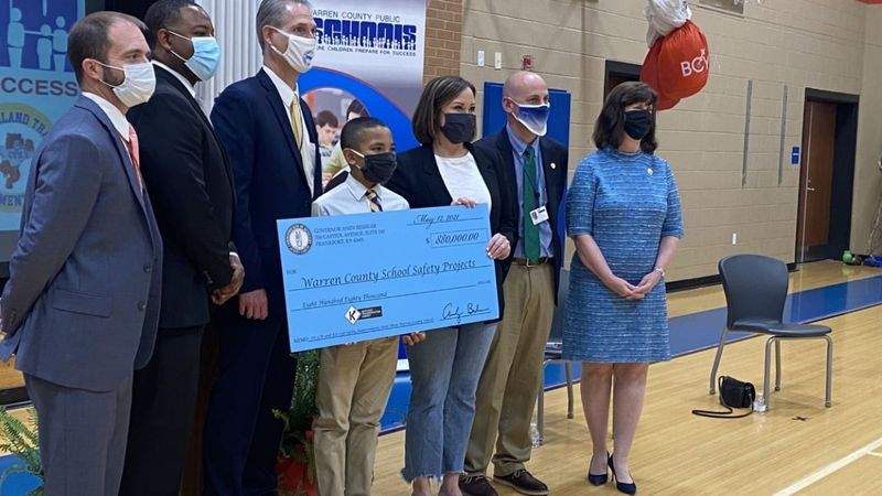 Lt. Governor Jacqueline Coleman presents a ceremonial check at Bristow Elementary School