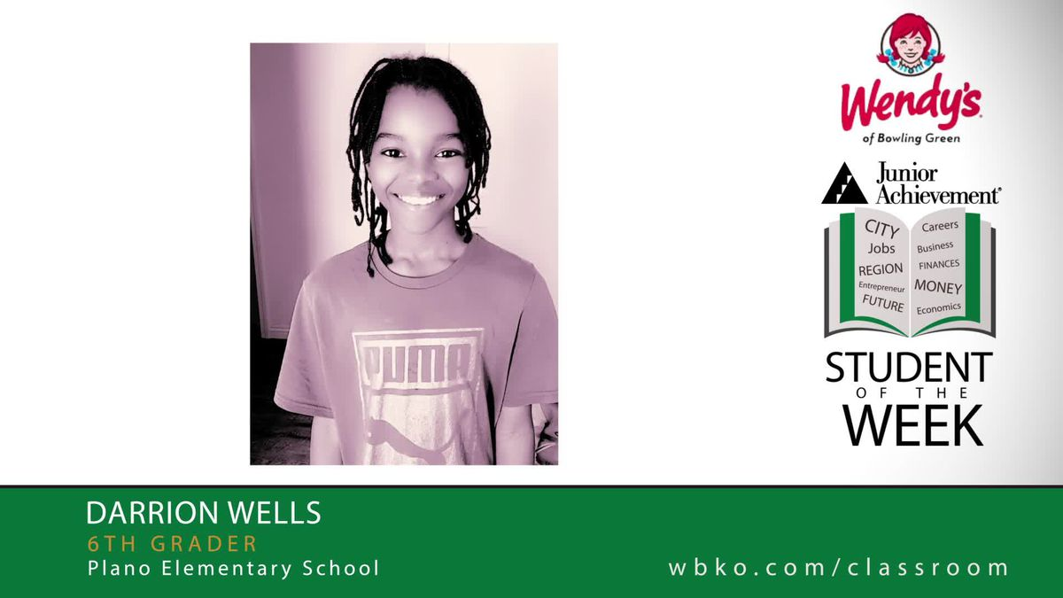 The JA Student of the Week is Darrion Wells