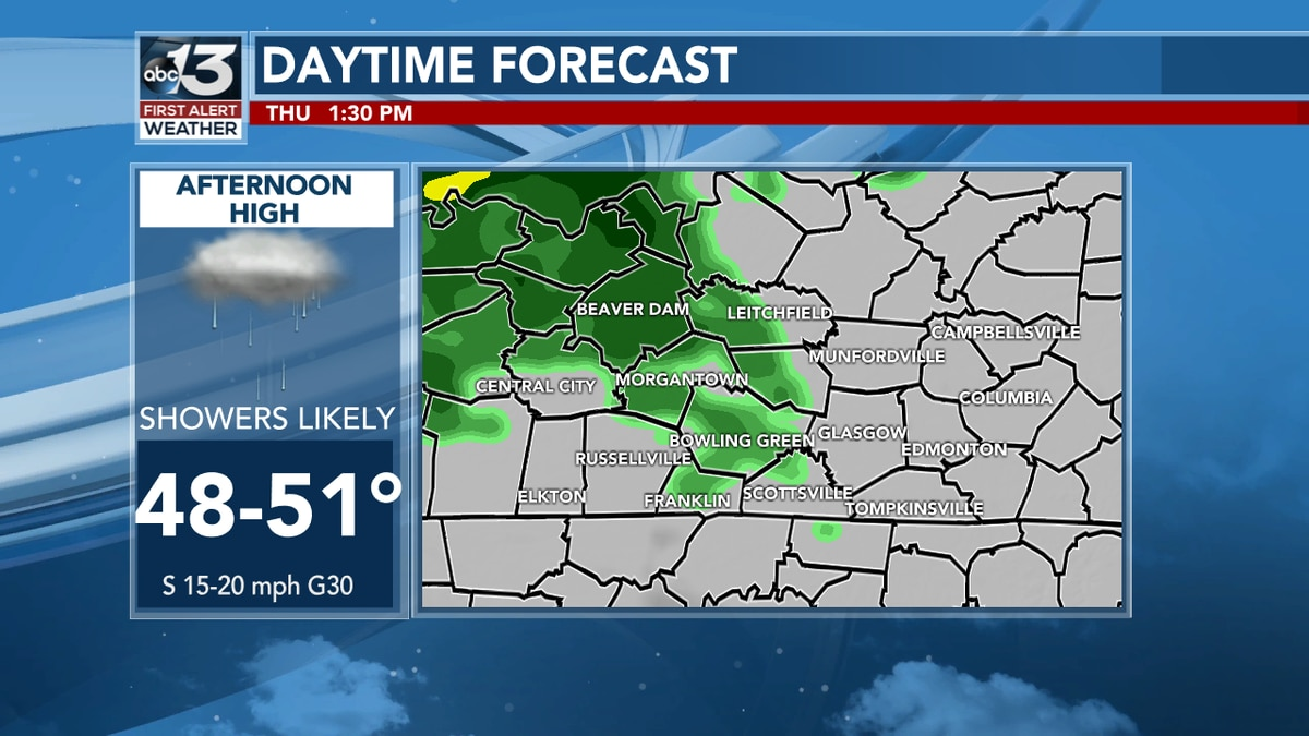 Showers Likely Thursday Afternoon
