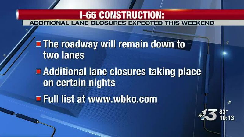 I-65 construction: Additional lane closures expected this weekend